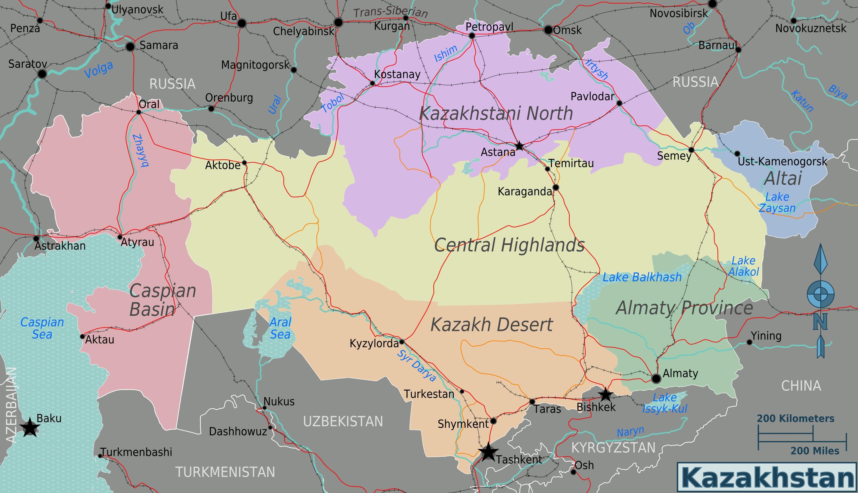 Karta Kazahstana Regije Karta Kazahstana Regije Srednja Azija