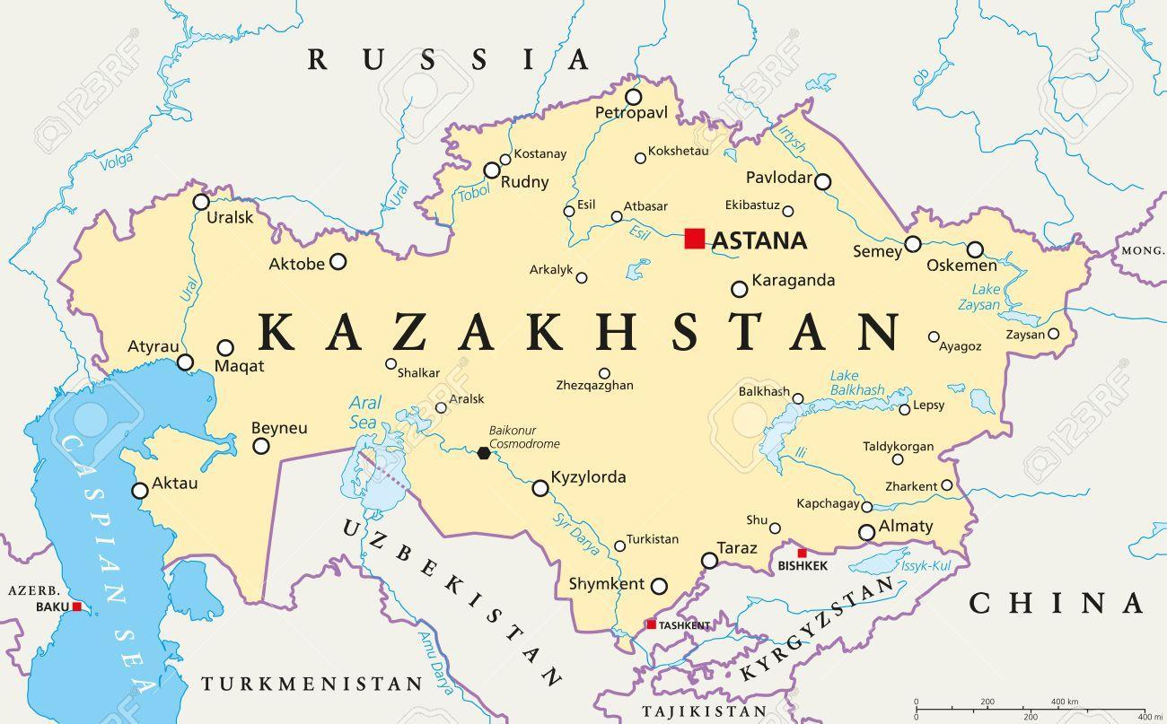 Astana Kazahstan Karta Kazahstana Srednja Azija Azija