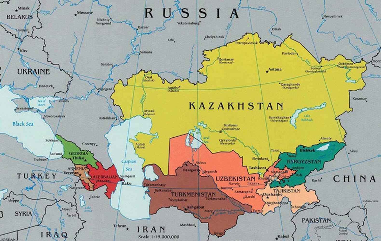 Karta Kazahstana I Okolnih Zemalja Kartu Kazahstan Susjednih